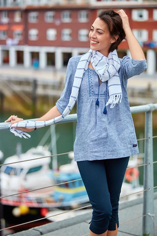 wit antraciet linnen sjaal met rafels