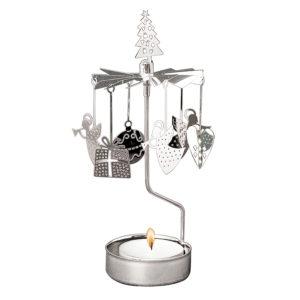 zilveren decoratie theelichtcarrousel