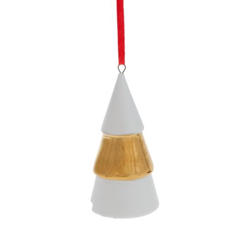 wit/goude kerstboom hanger keramiek