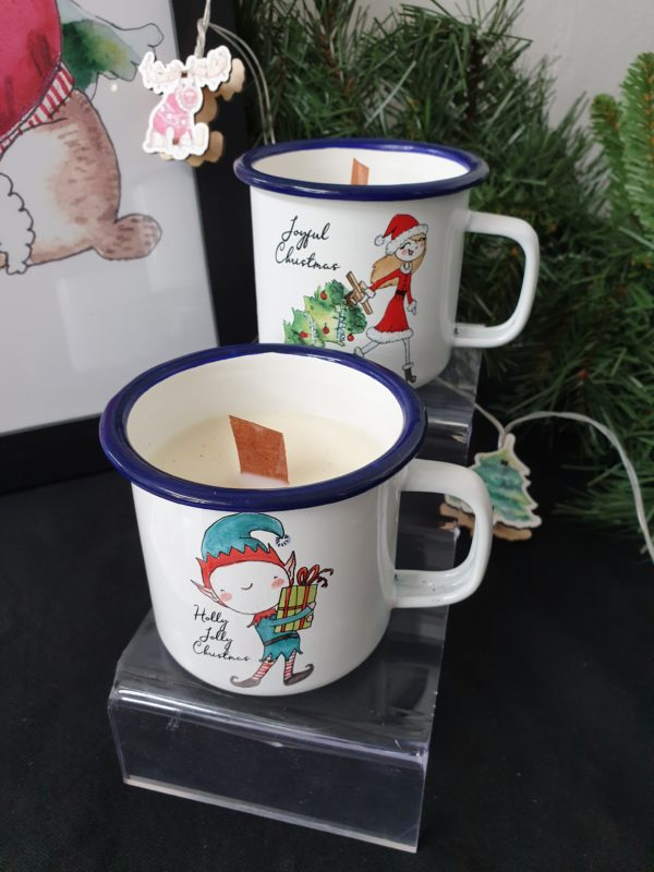 KERSTBOOM EN KERST ELF CANDLE IN A CUP JOYIN