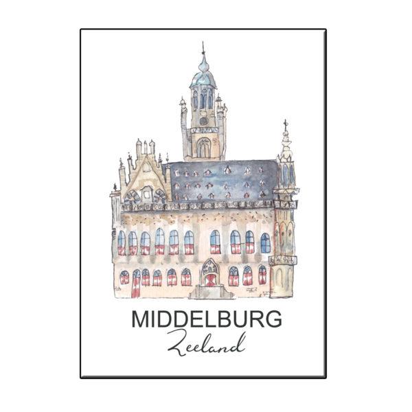 A6 STADSICOON STADHUIS MIDDELBURG KAART