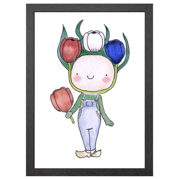Verfraai je ruimte met deze Happy tulpen jongen poster in MDF LIJST MET PLEXIGLAS COVER uit de Joyin collectie.