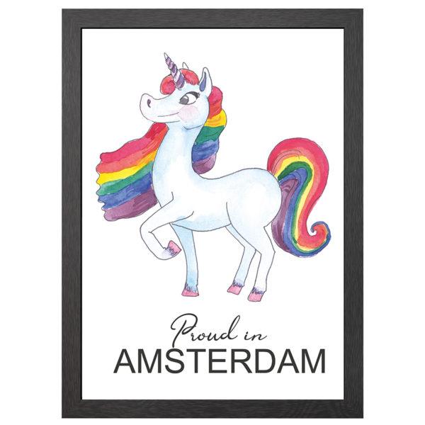 Verfraai je ruimte met de poster Unicorn Proud in Amsterdam in MDF LIJST MET PLEXIGLAS COVER uit de Joyin collectie. Laat zien dat je voor vrijheid bent.