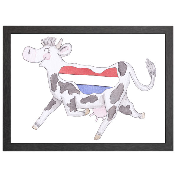 Verfraai je ruimte met deze poster van de crazy koe Nederland, met een Nederlandse vlag, in een zwarte MDF LIJST MET PLEXIGLAS COVER uit de Joyin collectie.