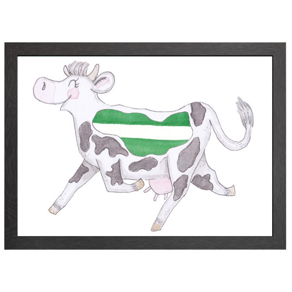 Verfraai je ruimte met deze Rotterdamse koe, de poster Crazy koe Rotterdam, in een zwarte MDF LIJST MET PLEXIGLAS COVER uit de Joyin collectie.