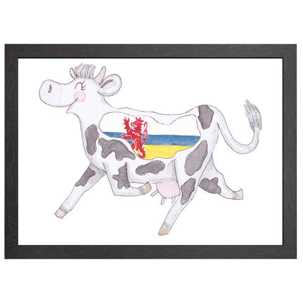 Verfraai je ruimte en muur met deze Limburgse koe, Crazy koe Limburg, in zwarte MDF LIJST MET PLEXIGLAS COVER uit de Joyin collectie.