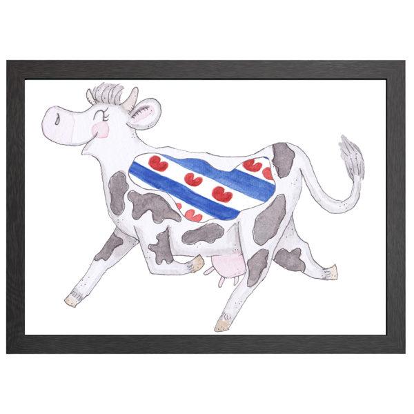 Verfraai je ruimte met deze Friese koe, de poster Crazy koe Friesland, in een zwarte MDF LIJST MET PLEXIGLAS COVER uit de Joyin collectie.