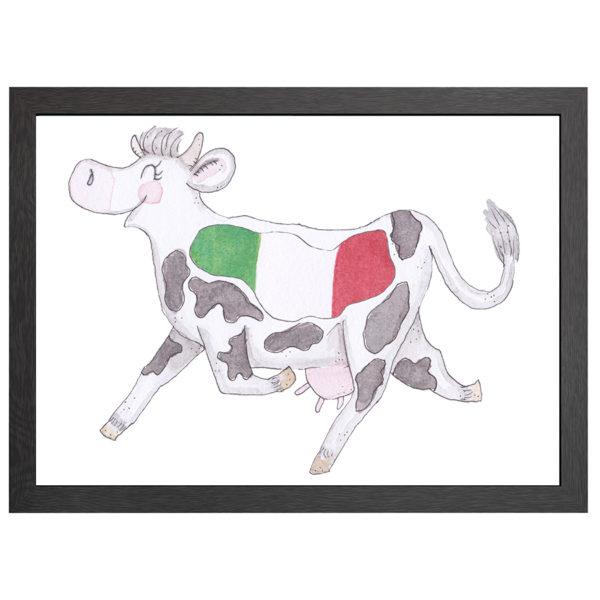 Verfraai je ruimte met deze Friese koe, de POSTER CRAZY KOE ITALIË, in een zwarte MDF LIJST MET PLEXIGLAS COVER uit de Joyin collectie.