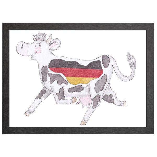 Verfraai je ruimte met deze Duitse koe, Crazy koe Duitsland, poster in MDF LIJST MET PLEXIGLAS COVER uit de Joyin collectie.