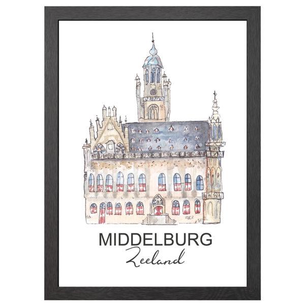 Verfraai je ruimte of muur met de poster van het stadhuis te Middelburg in zwarte MDF LIJST MET PLEXIGLAS COVER uit de Joyin collectie.