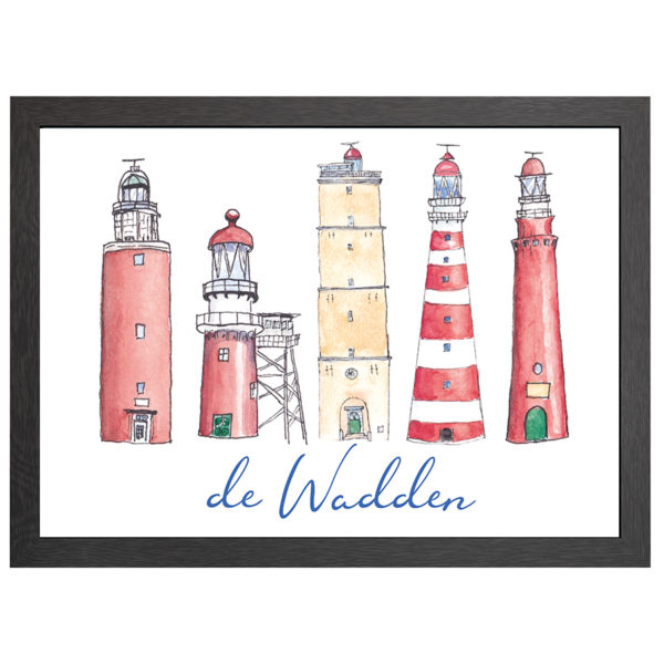 Deze wadden ingelijste poster uit de Joyin collectie met de vuurtorens van Texel, Vlieland, Terschelling, Ameland en Schiermonnikoog met tekst komt in een zwarte mdf lijst met plexiglas cover.