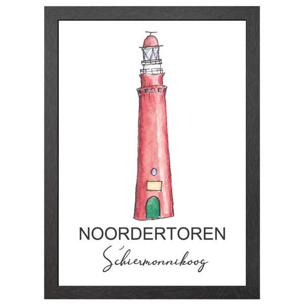 Verfraai je ruimte met deze poster van de Noordertoren vuurtoren te Schiermonnikoog in een zwarte MDF LIJST MET PLEXIGLAS COVER uit de Joyin collectie.