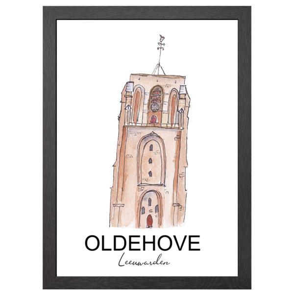 Verfraai je ruimte met deze poster van de Oldehove toren te Leeuwarden in MDF LIJST MET PLEXIGLAS COVER uit de Joyin collectie.