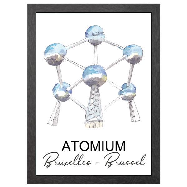 Verfraai je ruimte met deze poster van het Atomium te Brussel in een zwarte MDF LIJST MET PLEXIGLAS COVER uit de Joyin collectie.