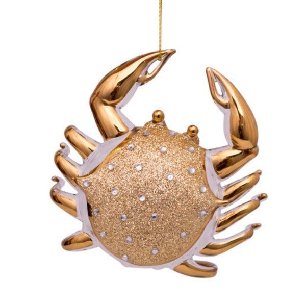 GOUDEN GLAZEN KRAB MET DIAMANTJES HANGER kerstbal kerstversiering ornament marine maritiem kerst martieme goud verguld glas krabbetje tsquare lifestyle webshop online winkelen